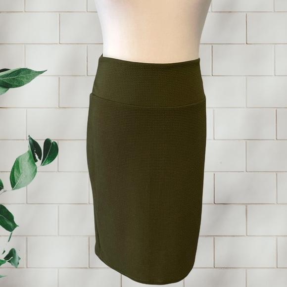 LuLaRoe Olive Green Textured Cassie Pencil Skirt